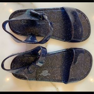 Navy with Silver Sparkle Gap Jelly Sandals